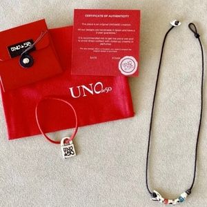 """UNO de 50 Leather & Silver-Plated Necklace; 18""""."""